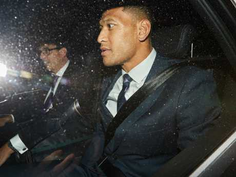 Israel Folau leaves the hearing on Tuesday.