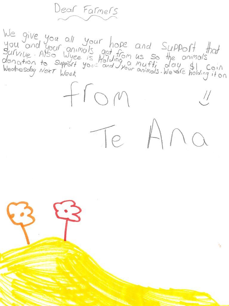 A letter written by Teana from Wyee Public School to farmers.