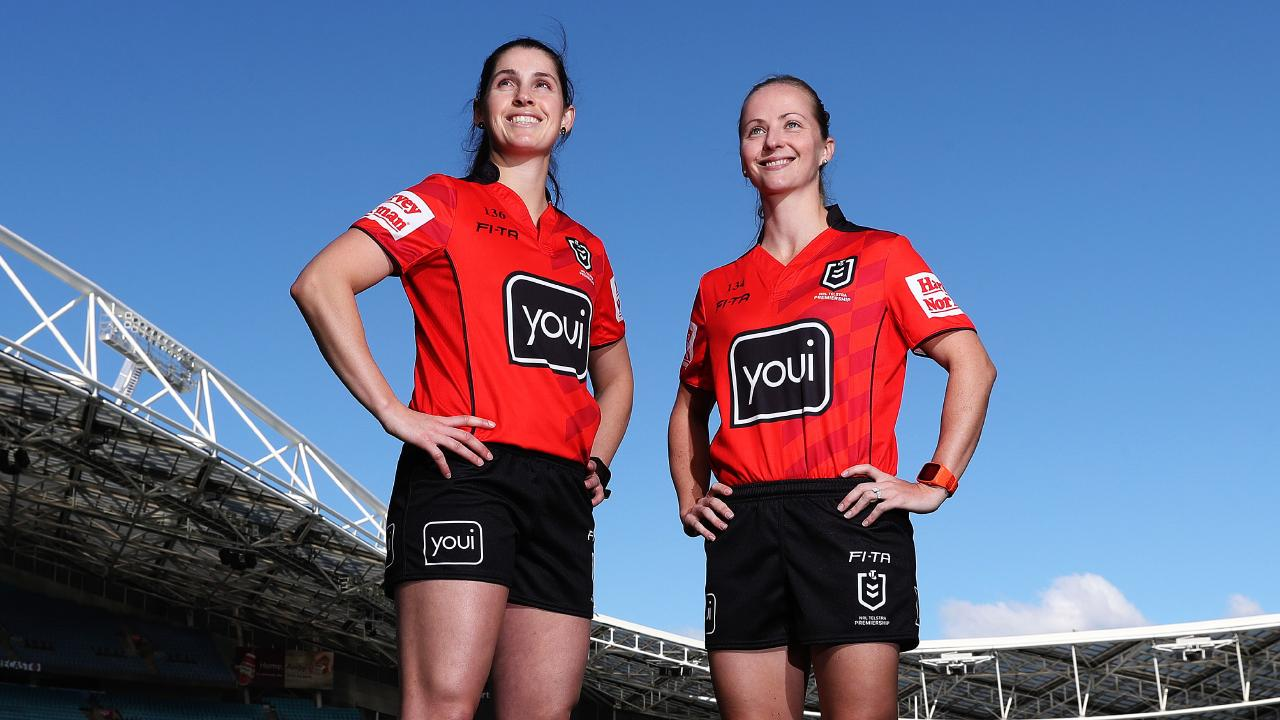 Referees Kasey Badger and Belinda Sleeman have been promoted to full-time contracts. Picture: Brett Costello