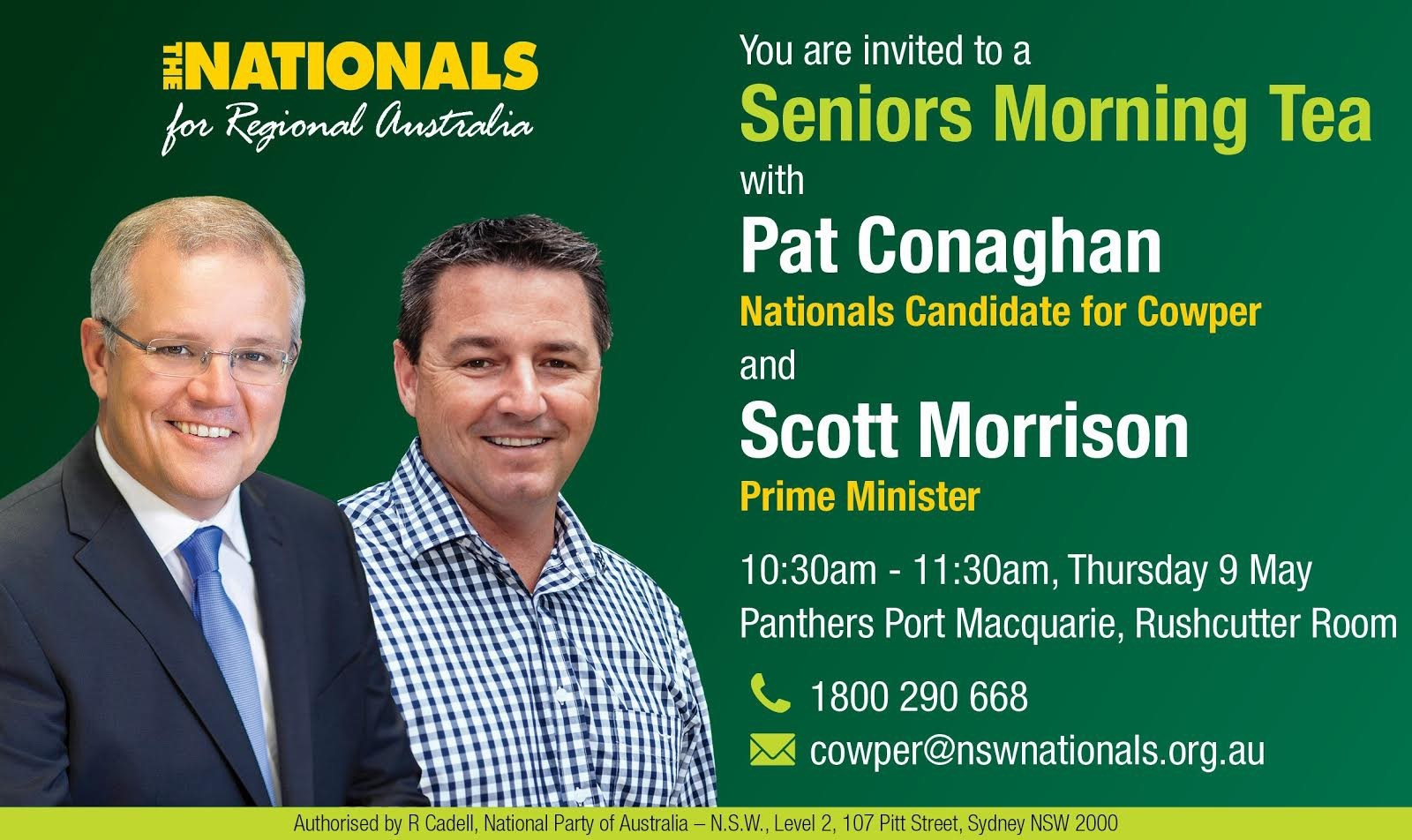 The official invite ahead of the Prime Minister's visit to Cowper on Thursday.