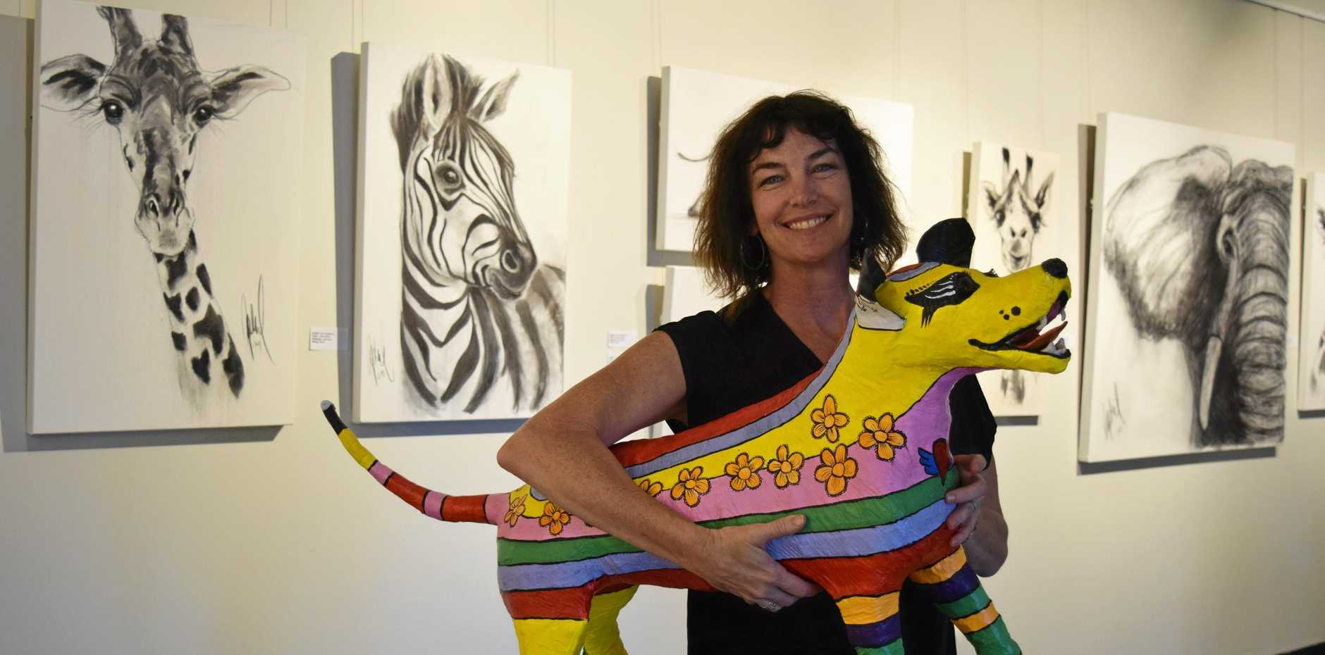 GREAT WORK: Maryborough artist April Spadina prepares her Leaps and Bounds exhibition at Gatakers Artspace.