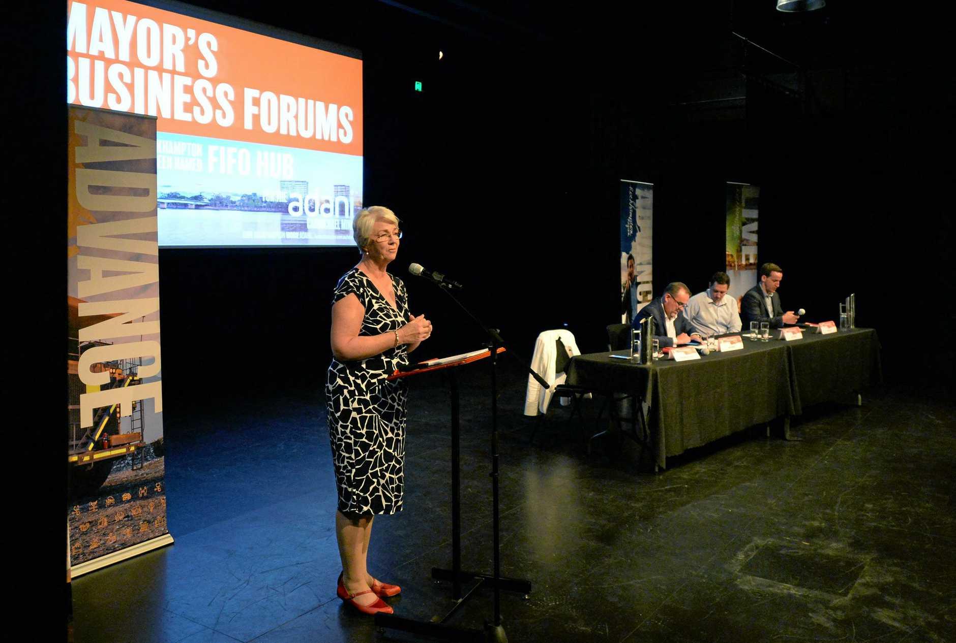 Mayor Margaret Strelow addresses the Business Forum on the Adani mine development.