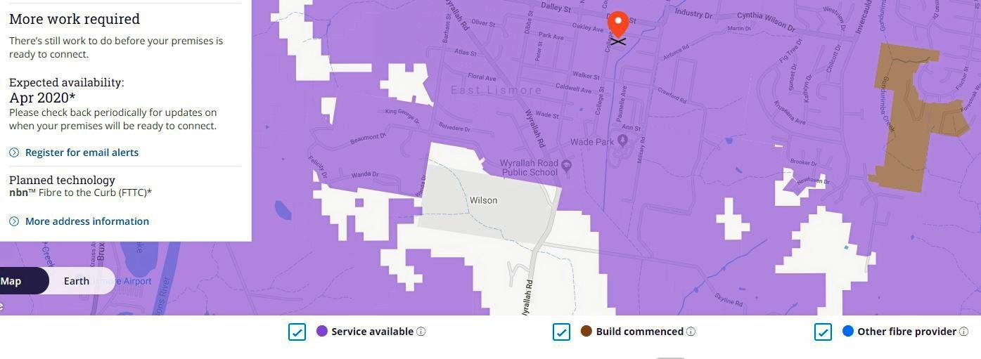 Rollout areas for the nbn in the Northern Rivers.