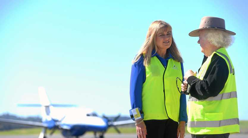 UPGRADE TAKE OFF: MP Justine Elliot speaks to Ballina mayor David Wright about the need to upgrade the Ballina Byron Gateway Airport runway.
