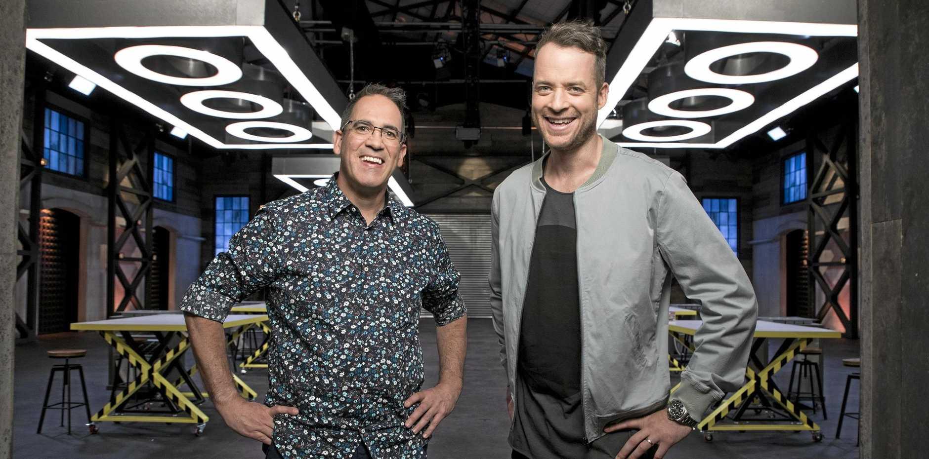 BRICK LAYERS: Ryan 'Brickman' McNaught and Hamish Blake helm the TV series Lego Masters.