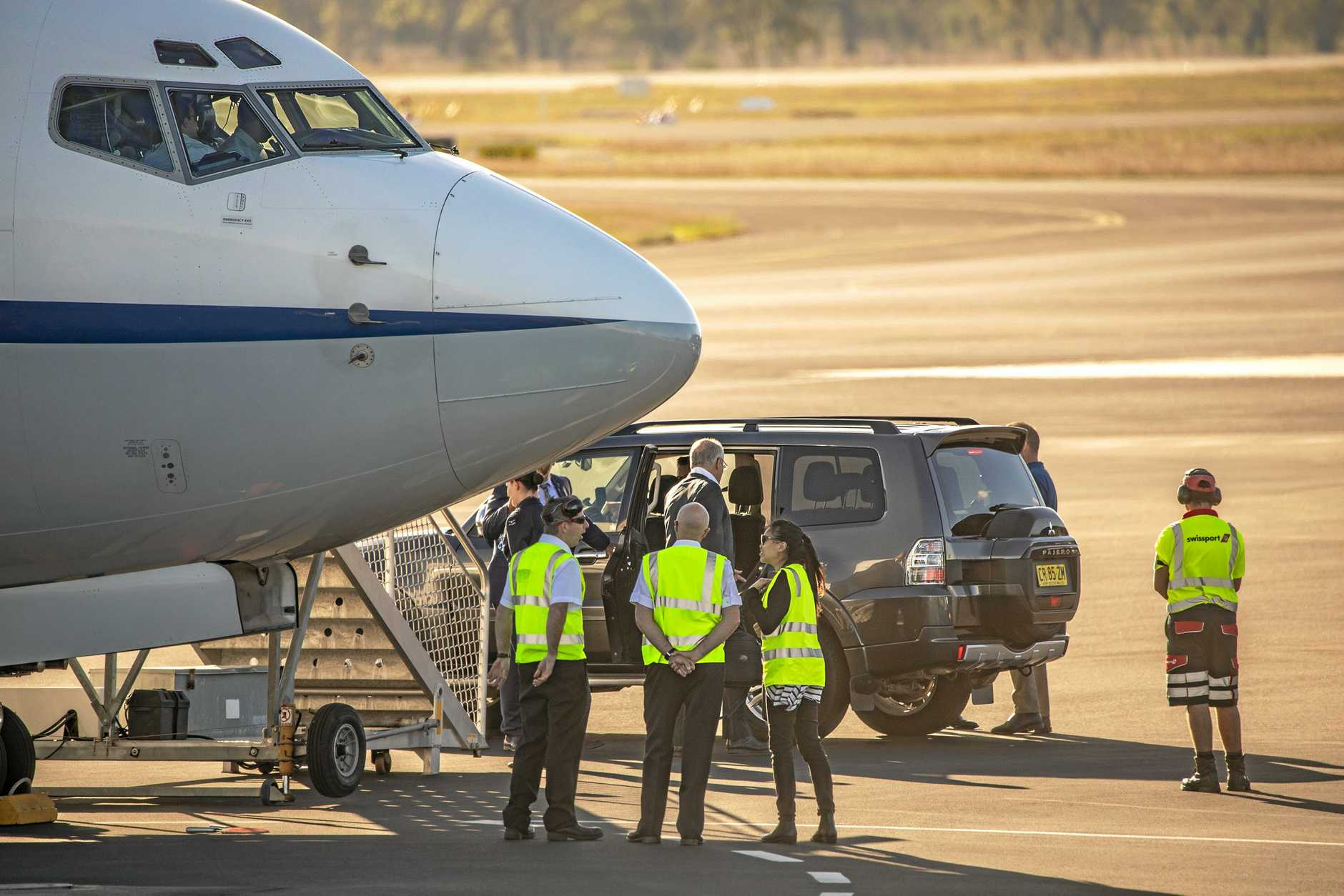 Prime Minister Scott Morrison arriving at Rockhampton Airport aboard his RAAF 737 VIP transport.