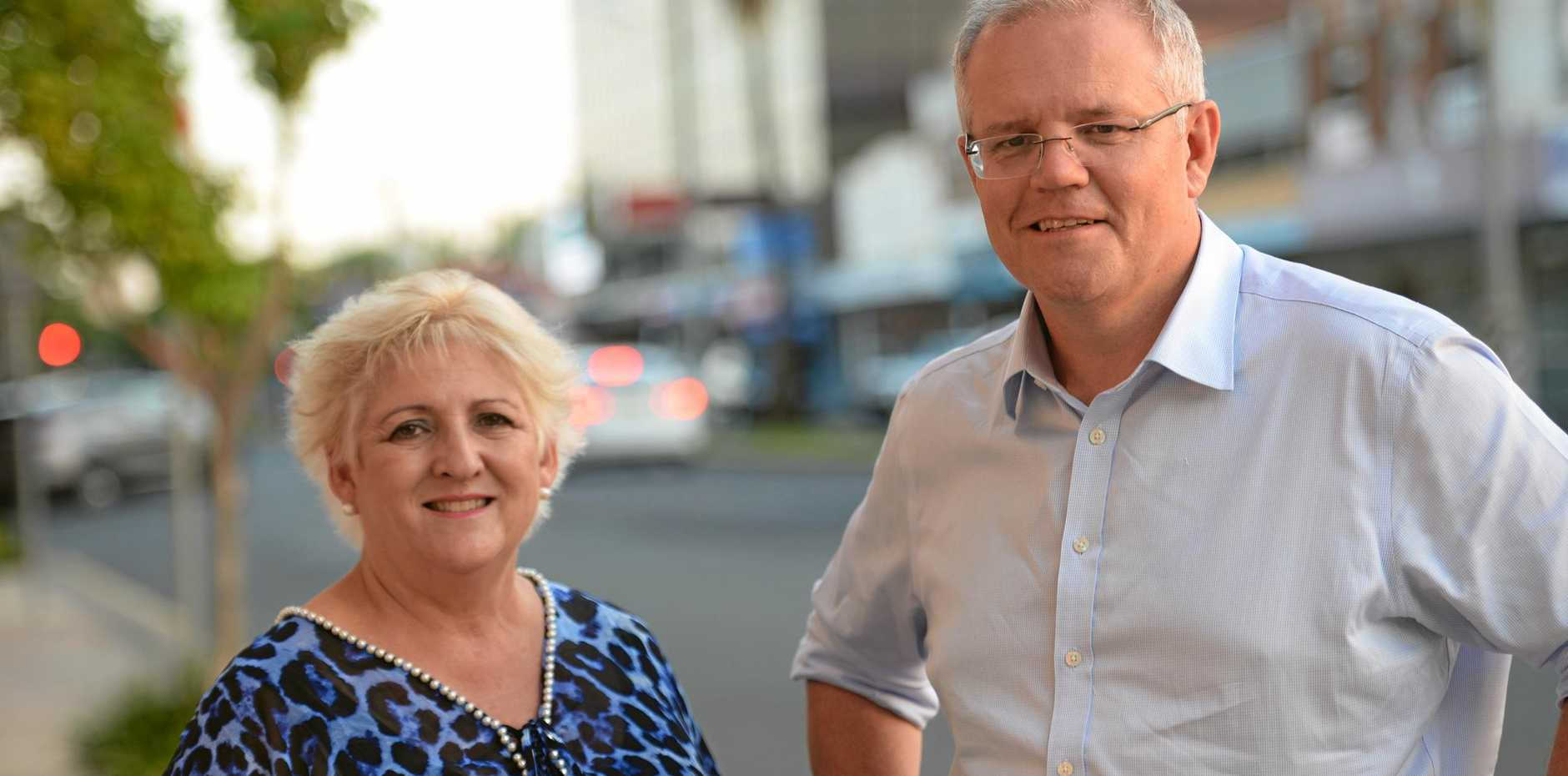 Prime Minister Scott Morrison with Michelle Landry in Rockhampton.