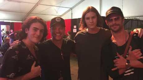 Chris Hemsworth and Matt Damon attend Bluesfest at Byron Bay