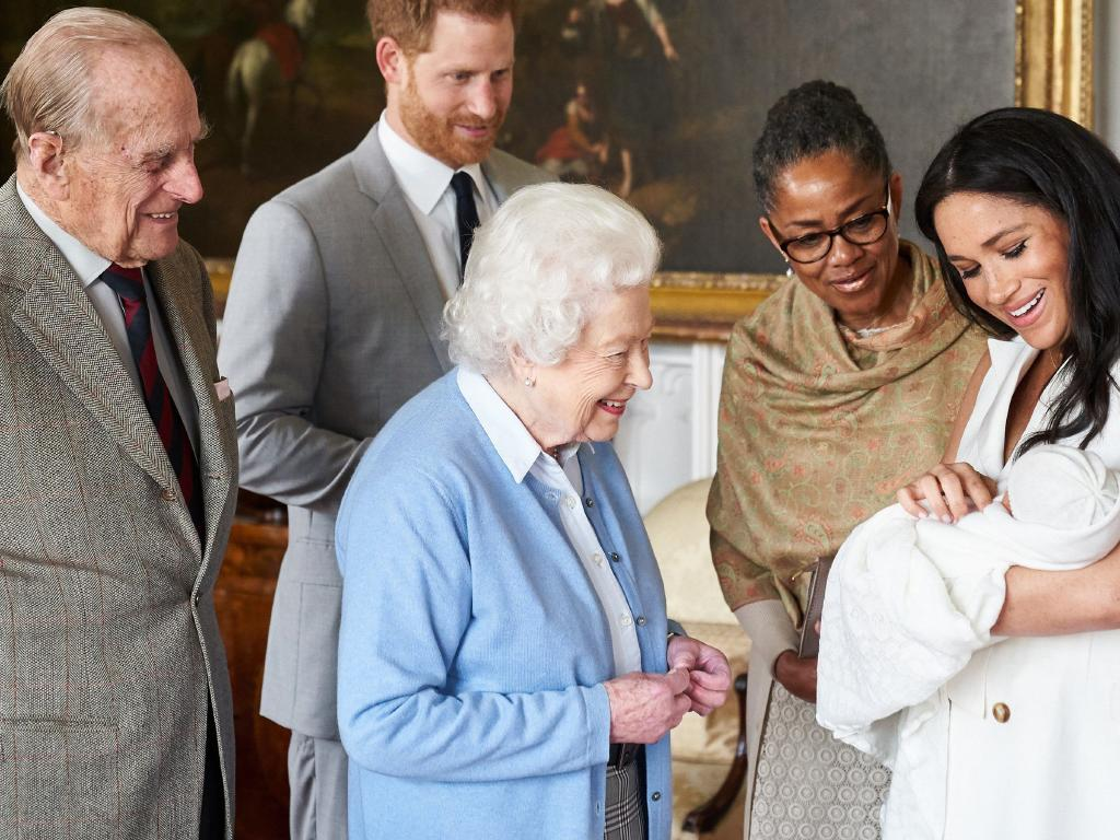 Meghan Markle — pictured with the Queen, Prince Philip, Prince Harry, son Archie Harrison and mother Doria Ragland — is mixed race. Picture: Chris Allerton/SussexRoyal via Getty Images