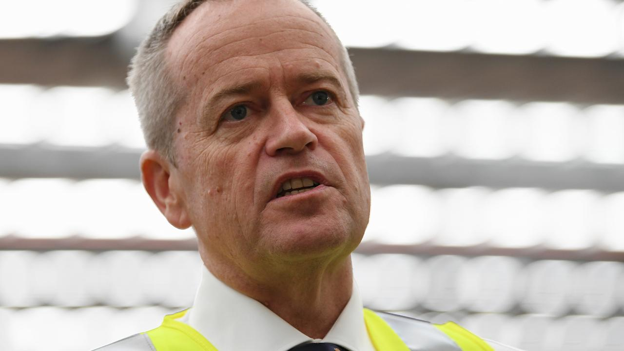 Australian Opposition Leader Bill Shorten addresses workers during a visit to a Brisbane freight company. Picture: Lukas Coch/AAP