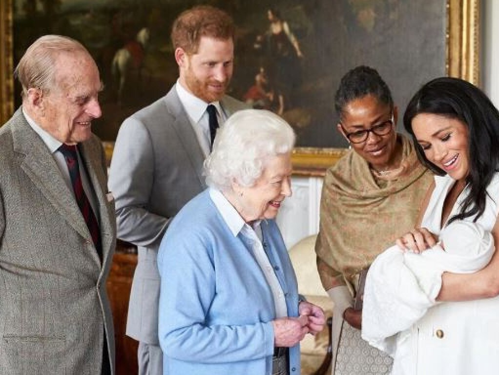 Prince Philip, Prince Harry, Queen Elizabeth II, Doria Ragland, Archie Harrison and Meghan. Picture: Supplied