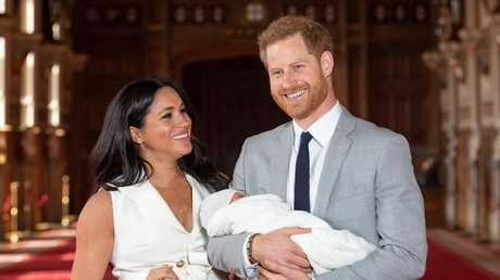Meghan, Harry and baby Archie front the cameras. Picture: Dominic Lipinski — WPA Pool/Getty Images
