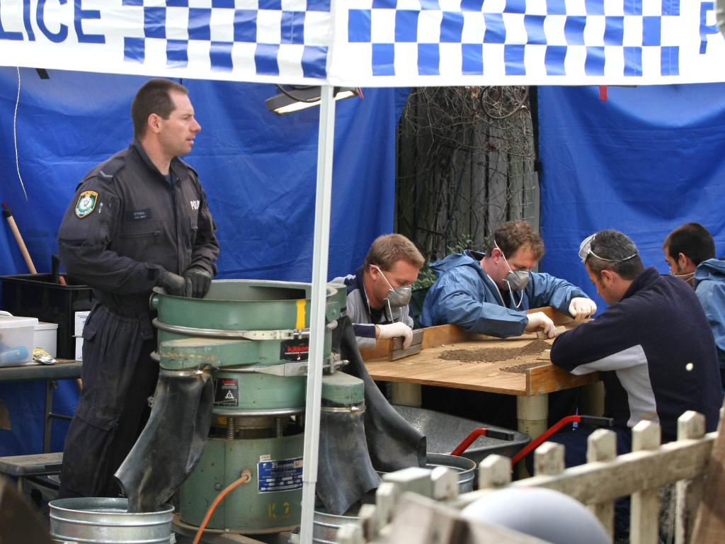 In 2008, officers sifted through soil taken from the backyard of a home in Gladesville, Sydney, searching for evidence of the missing baby. File picture