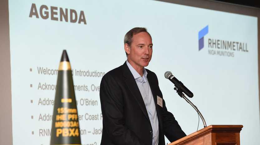 Rheinmetall Nioa Munitions director Robert Nioa at the Maryborough Chamber of Commerce community update.
