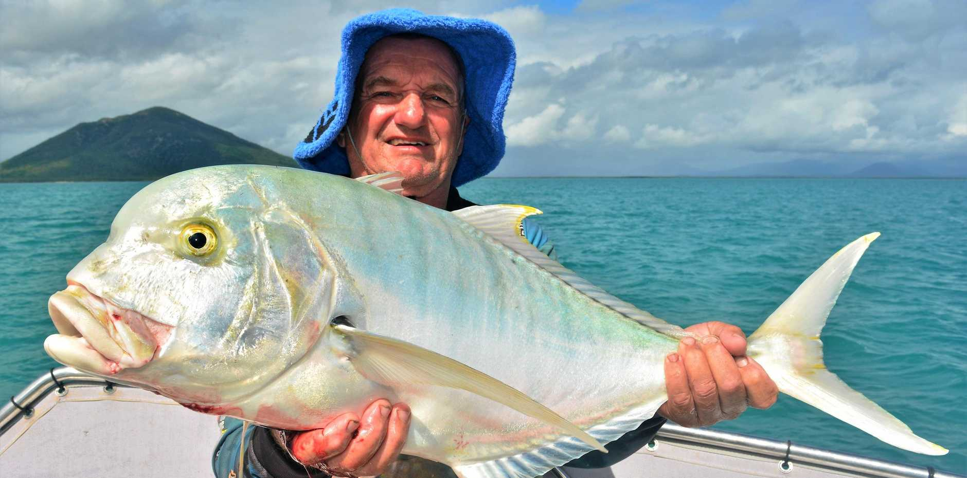 HUGE: Local legend John Martinali books a spot to get his arms stretched on Reel Addiction every week. Last week he won a good old game of tug of war with this hefty golden trevally.