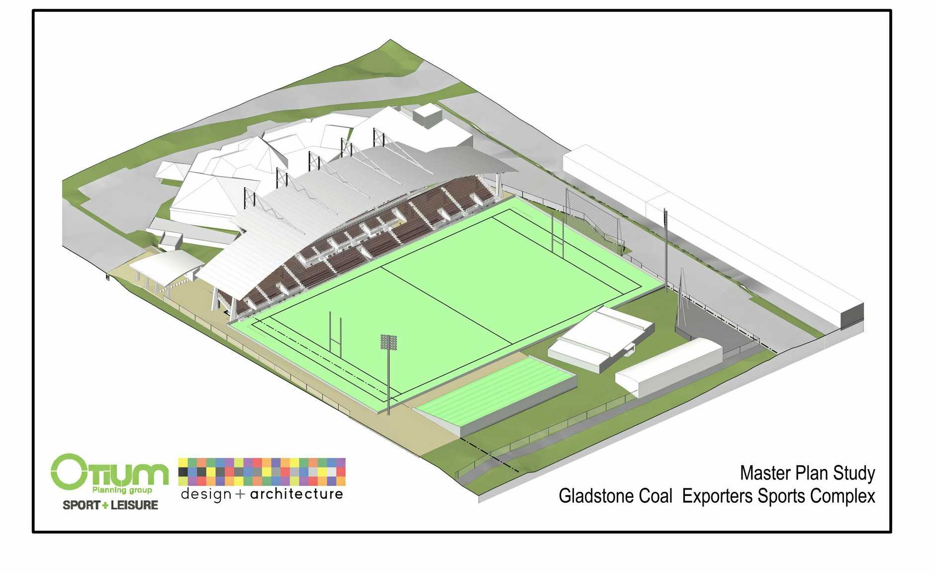 Master plan design of the Gladstone Coal Exporters Sports Complex (Marley Brown Oval). The ground's reconfiguration would involve turning the ground 90 degrees and constructing a new 5000-seat grandstand in front of Harvey Road Tavern. The existing 1000-seat grandstand would be removed with the possibility of relocating it to another sporting ground.