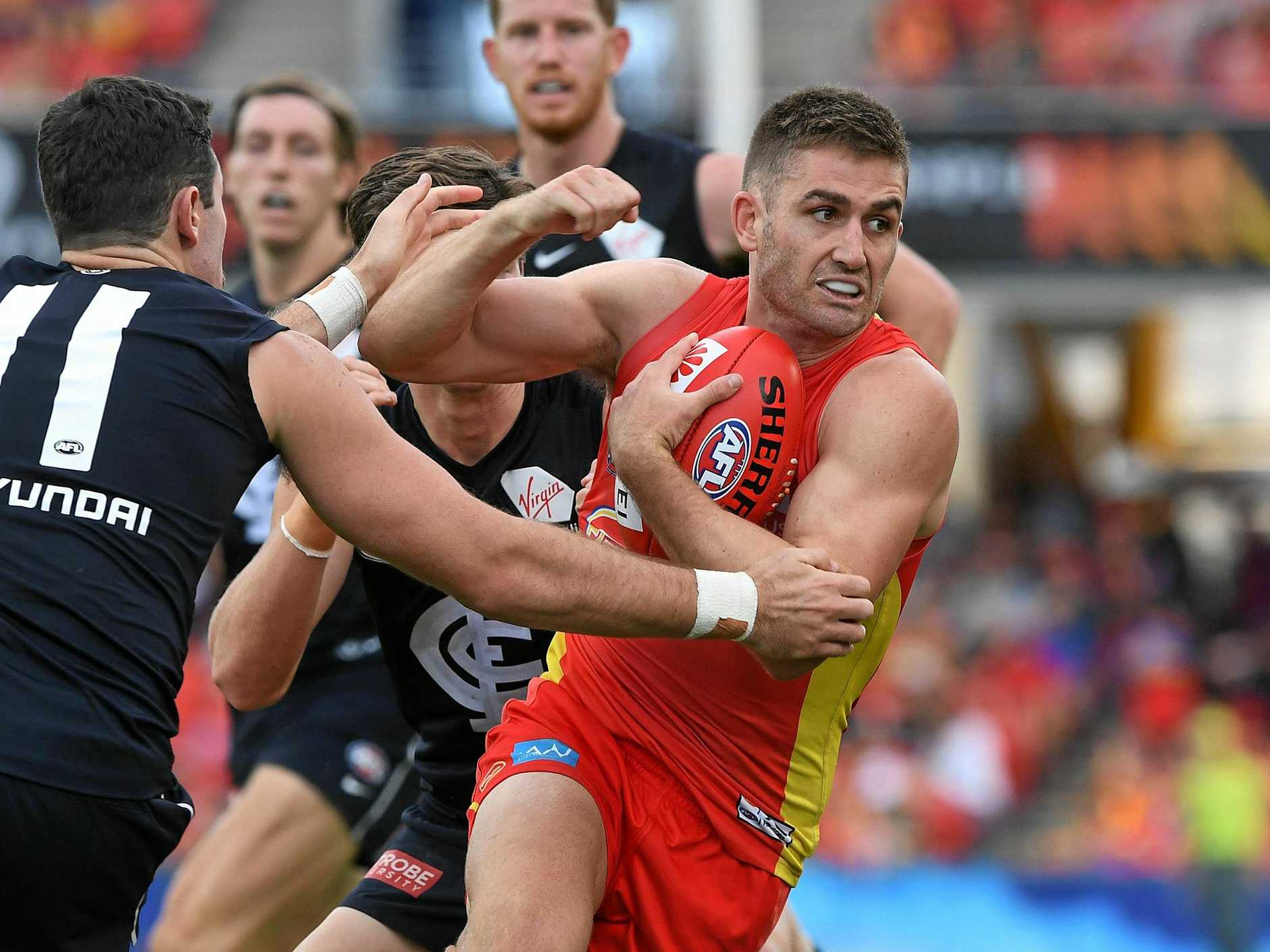 The Suns' Anthony Miles in action against Carlton at Metricon Stadium on April 14.  Picture: Dave Hunt/AAP