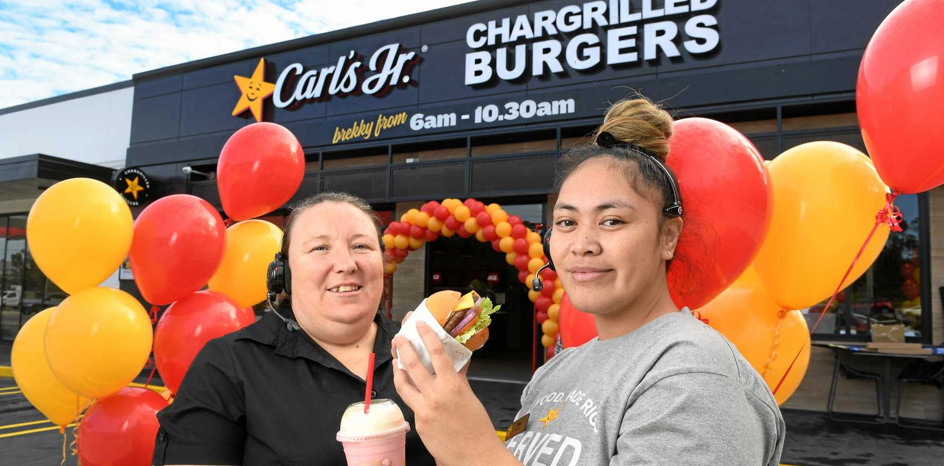 Carl's Jr has opened in Riverview. Managers Diane Simmons and Rose Mananu.