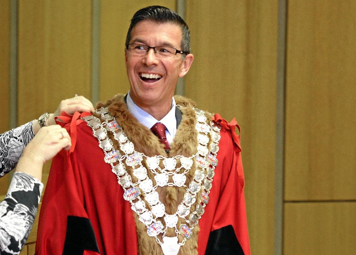 REINS: Andrew Antoniolli being sworn in as the mayor of Ipswich.