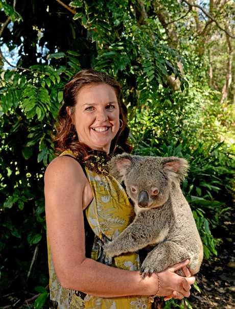 Team Koala president Jenny Hayes with a Koala at Currumbin Wildlife Sanctuary.