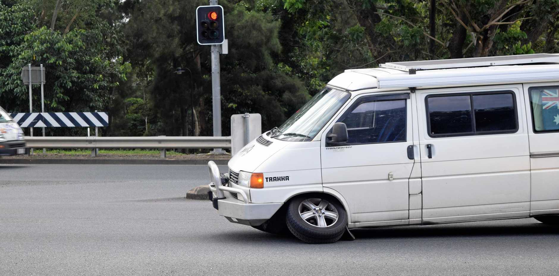 A van has lost one of its front tyres at the intersection of Island Drive and Shute Harbour Road, blocking traffic.