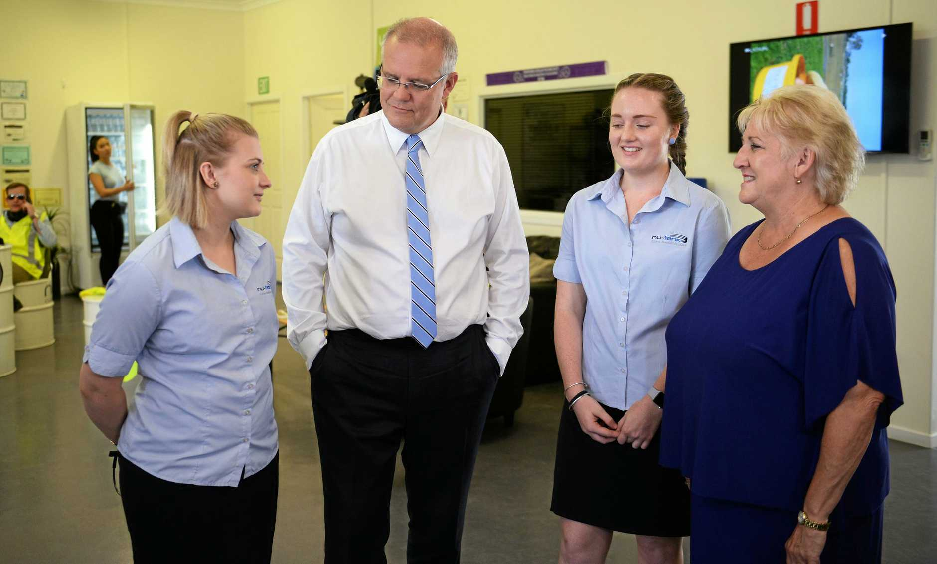 Kaitlyn Greig and Phoebe Platts with Prime minister Scott Morrison and Michelle Landry.