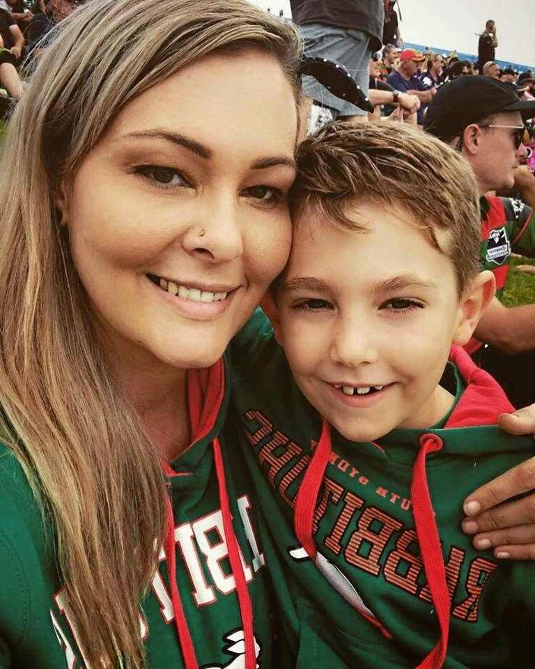 Jo Gilchrist says her son Tommy has been her biggest cheerleader as she's battled to regain strength in her legs after a staph infection left her with a spine injury.