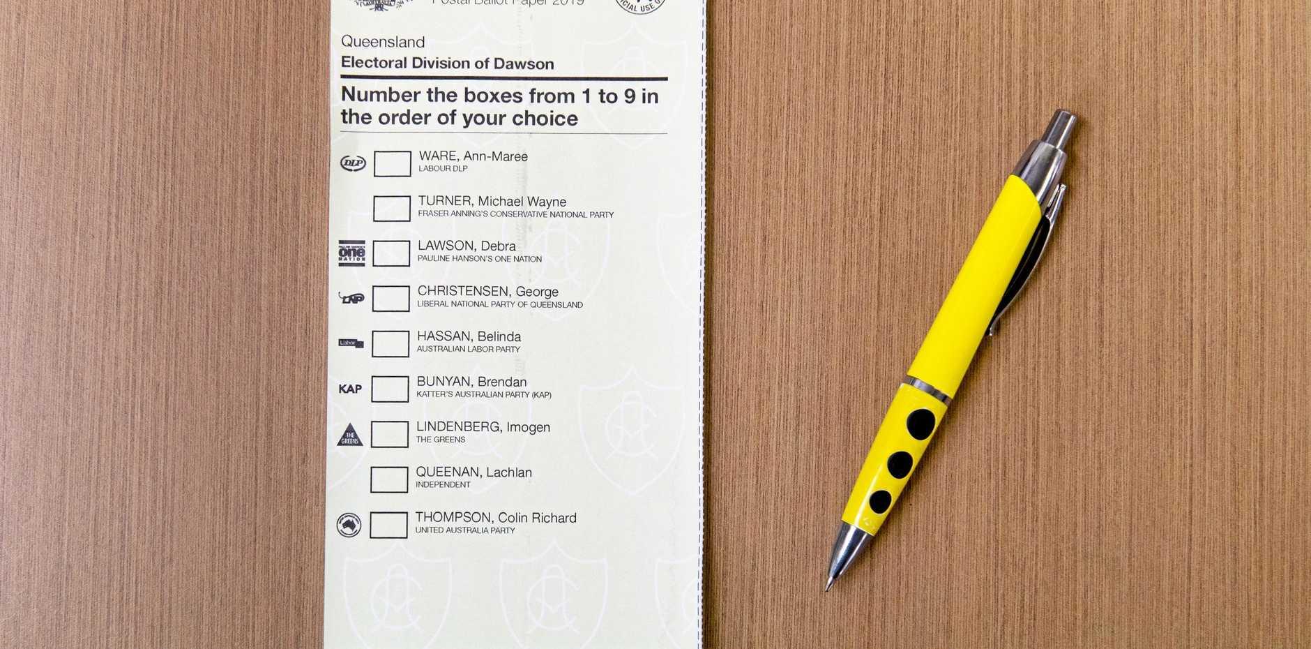 House of Representatives postal ballot paper for Dawson for 2019.