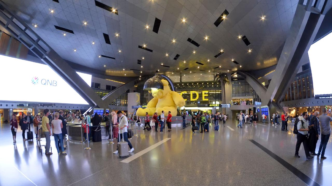 Inside the main hall of Hamad International Airport in Qatar.
