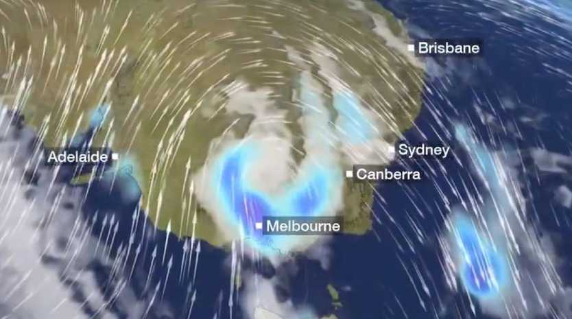 A cold front sweeps over southern Australia.