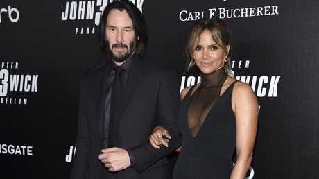 Keanu Reeves, left, and Halle Berry at the world premiere of John Wick: Chapter 3 — Parabellum in New York last week. Picture: Evan Agostini/Invision/AP