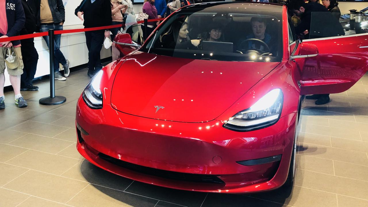 Tesla Model 3 on display at Martin Place.