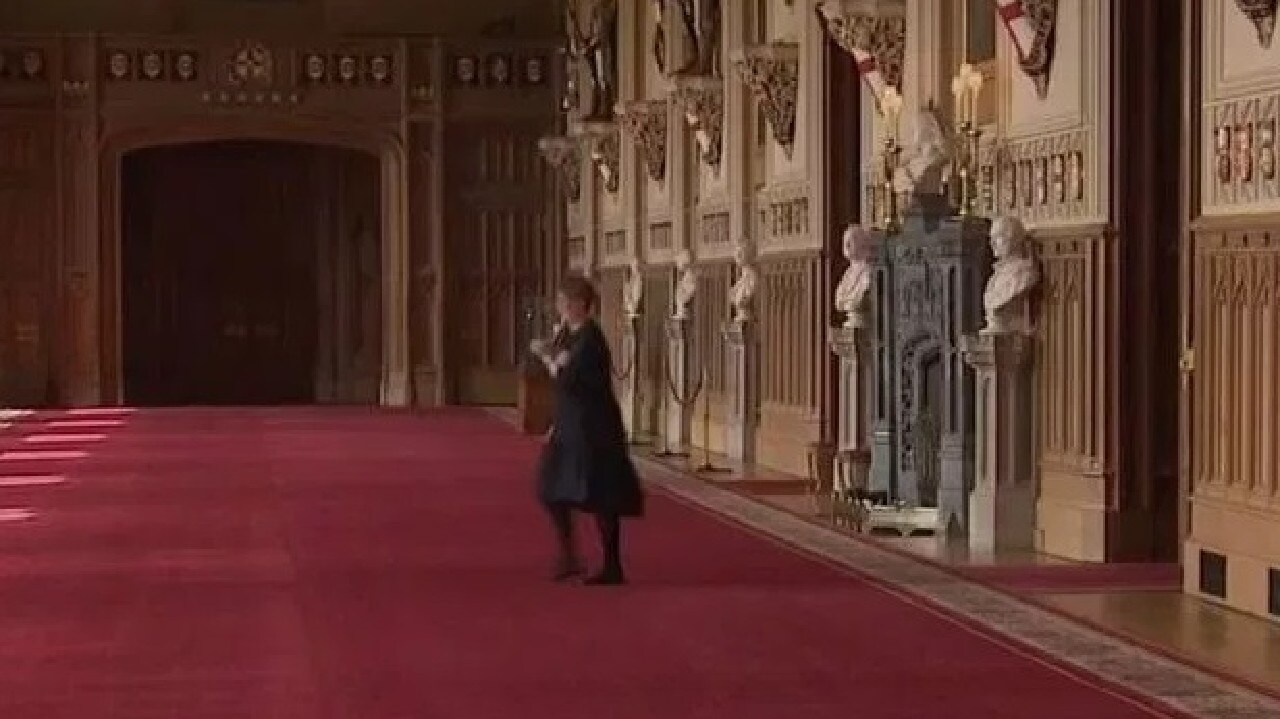 Sara sprinted through the Great Hall ahead of the Sussexes.