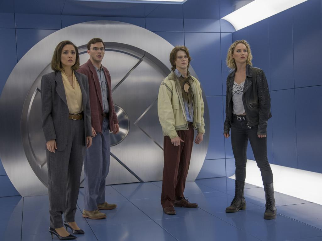 Nicholas Hoult with Rose Byrne, Evan Peters and Jennifer Lawrence in X-Men: Apocalypse. Picture: Supplied