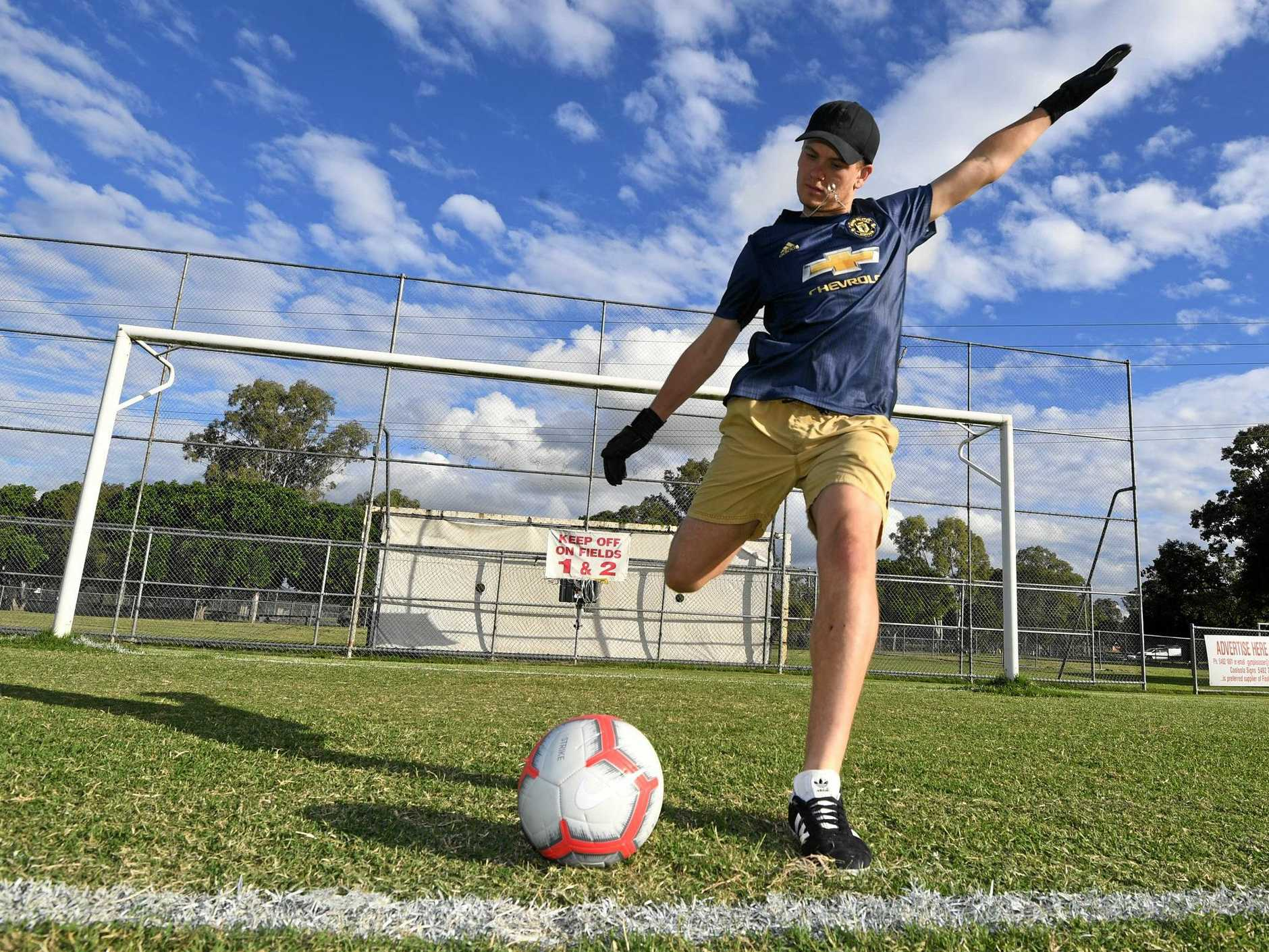 AROUND THE WORLD: Gympie goalkeeper Eligh Williams is heading to the USA with the aim of one day playing in the Premier League, and for Australia.