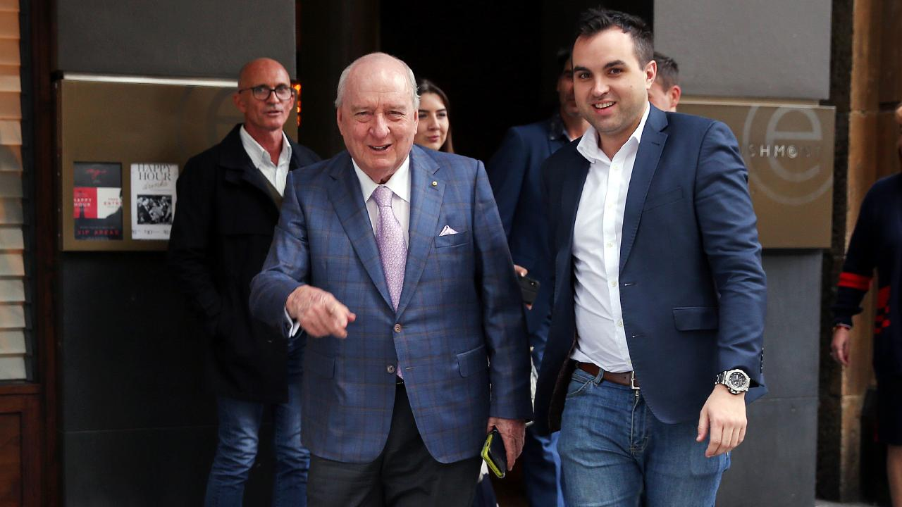 Alan Jones pictured leaving lunch with colleagues from Mr Wong restaurant in the city. Picture: Sam Ruttyn