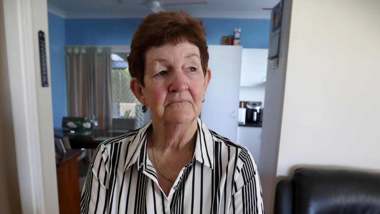 June McConnell's life was shattered when three thugs armed with hammer and tomahawk confronted her at her Wavell Heights home. Picture: Jamie Hanson