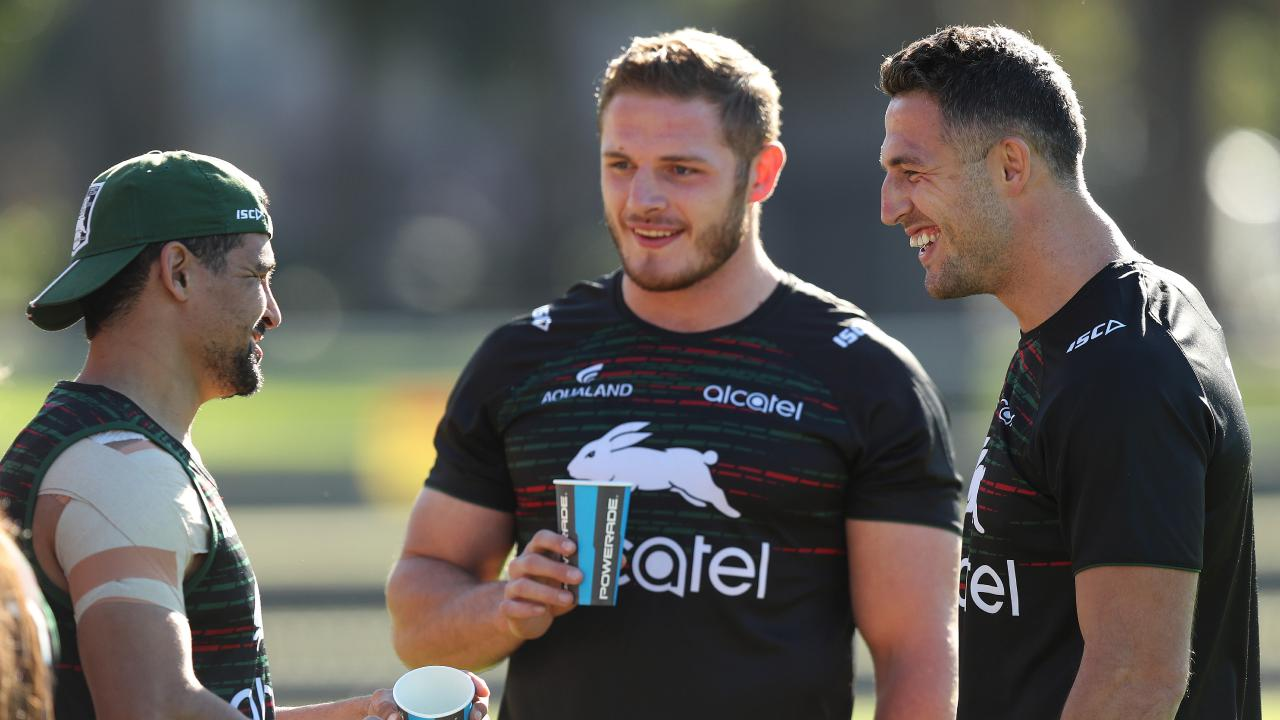 Walker with George and Sam Burgess at training. Picture: Brett Costello
