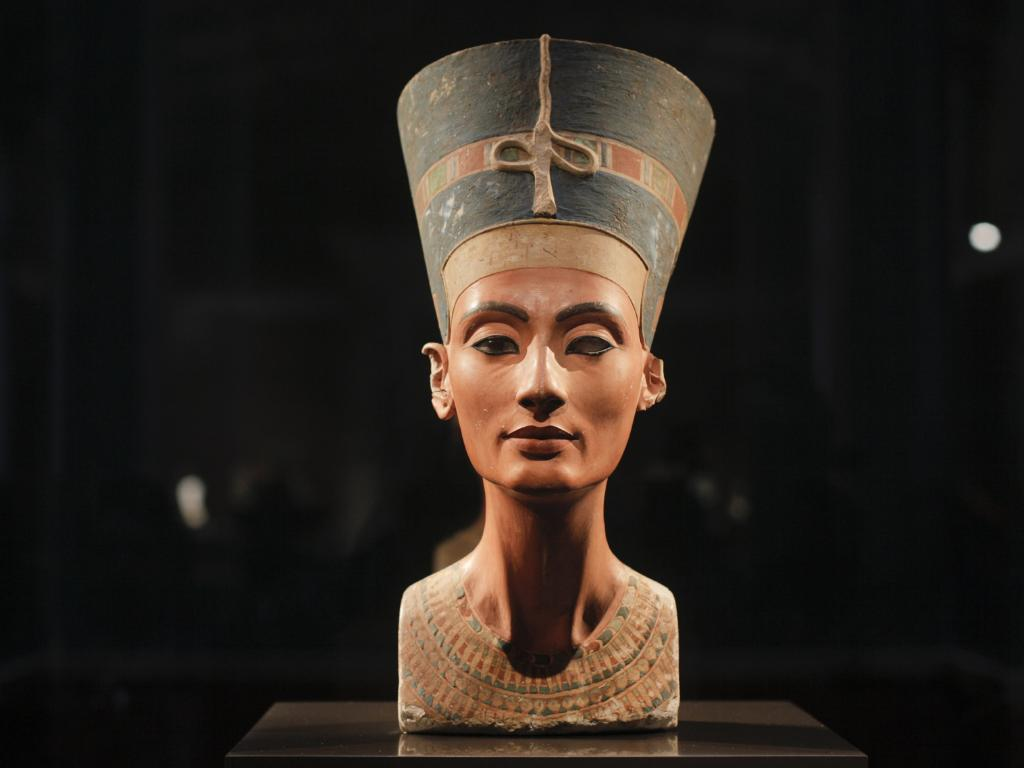 The famous 3,300-year-old bust of Queen Nefertiti. Many believe she ruled Egypt after the death of her husband, Akhenaten, and before her stepson Tutankhamun. Picture: AP