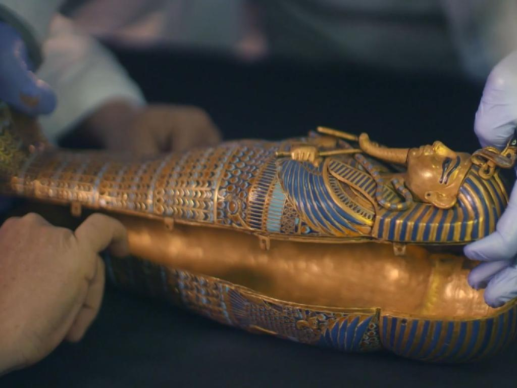 One of the small sarcophagi used to store Tutankhamun's preserved internal organs. Screen capture: King Tut: Forgotten Treasure