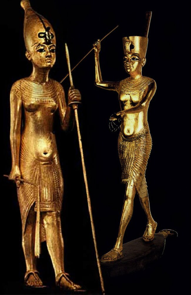 These two gold-covered statues found in Tutankhamun's tomb may not be of the boy king. Instead, they may be of his two older sisters — Neferneferuaten and Meritaten — who may have ruled Egypt jointly after the death of their father.