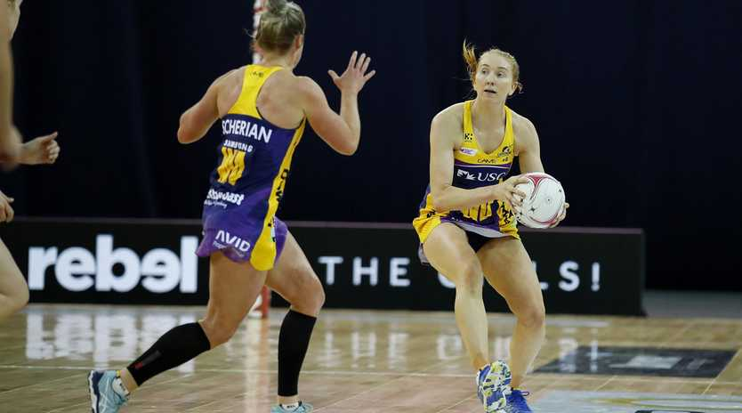 Lightning's Madeline McAuliffe pictured during the Round 3 Super Netball match between the Sunshine Coast Lightning and the Queensland Firebirds at the Brisbane Entertainment Centre in Brisbane, Sunday, May 12, 2019. (AAP Image/Josh Woning) NO ARCHIVING, EDITORIAL USE ONLY
