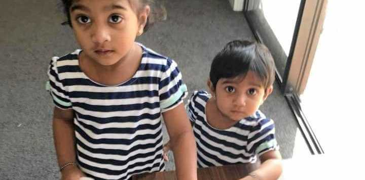 Kopika, 3, and Tharunicaa, 1, have been in a Melbourne detention centre since March with their parents Priya and Nades.