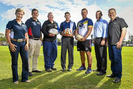 BIG PLANS: Rowen Winsor (Gladstone Ports Corporation), Anthony Groen-int-woud (Gladstone Rugby Union), Richard Duff (Gladstone Rugby League), Andrew Pelling (Football CQ), Michael Cavanagh and Dennis Black (Gladstone Touch Football) and Gladstone mayor Matt Burnett at last Friday's announcement of future plans for Marley Brown Oval.
