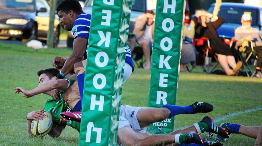 Centre Callum Jones scores the match-winning try for Lennox Head against Byron Bay in Far North Coast rugby union.