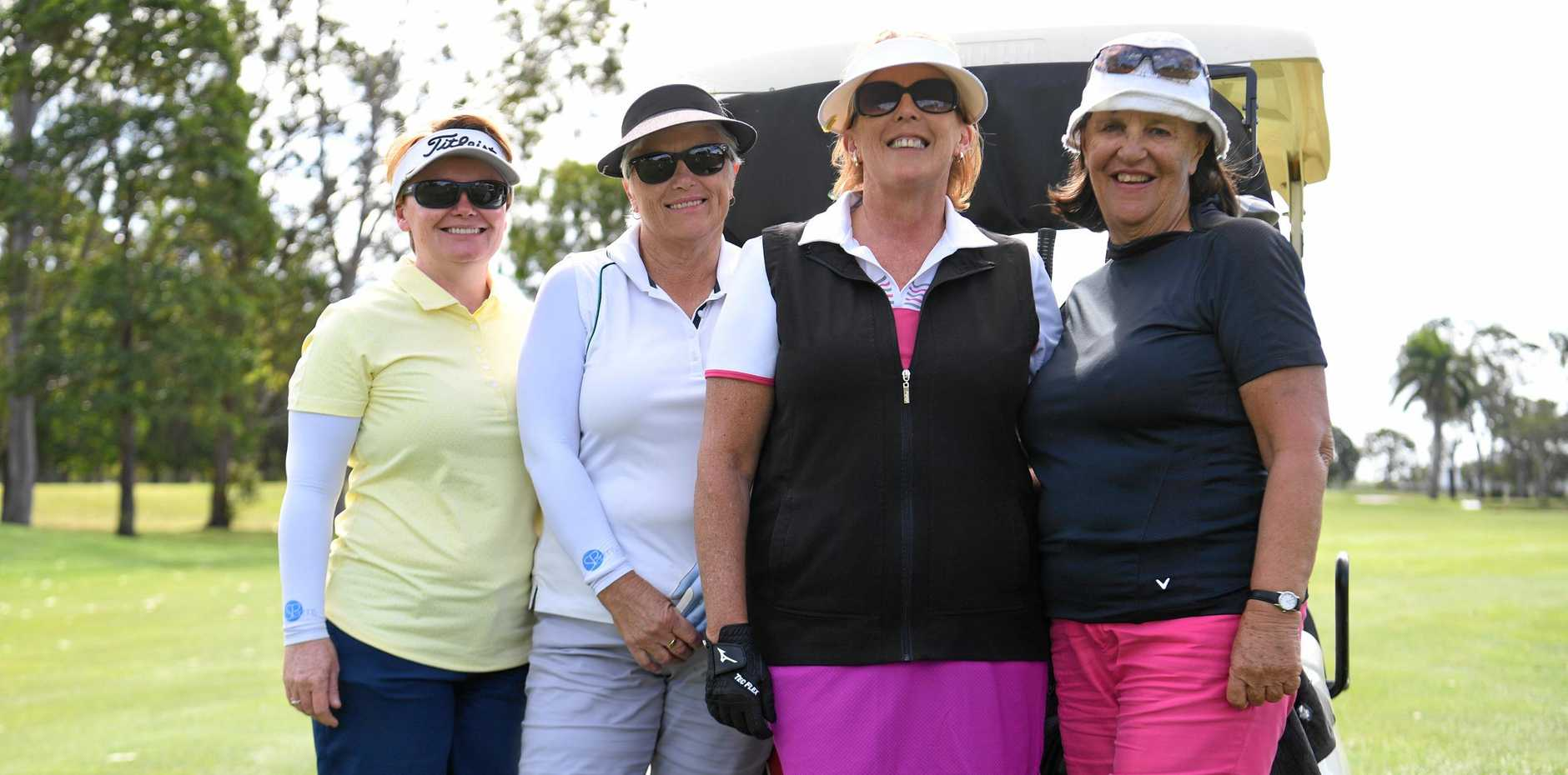 STRONG CONTENDERS: Sunshine Coast golfers Liv Dolan, Paula Jeffrey, Jennifer Eborall and Judy Meager play at Bundaberg Golf Course ahead of the Queensland Women's Country Championships that start today.