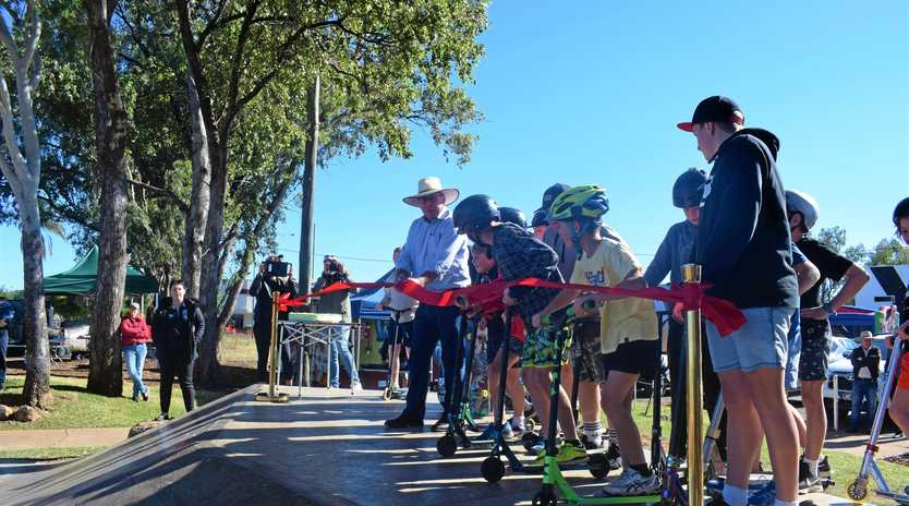 Mayor Paul McVeigh cutting the ribbon and officially reopening the Chinchilla Skatepark on Saturday morning.