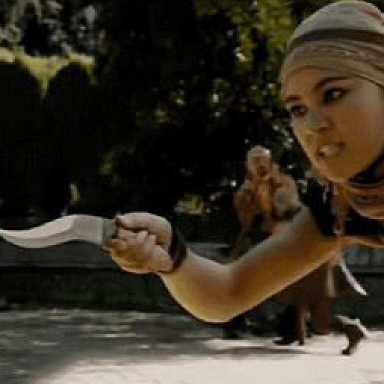 However, when she got to the little girl the whip had changed into a dagger