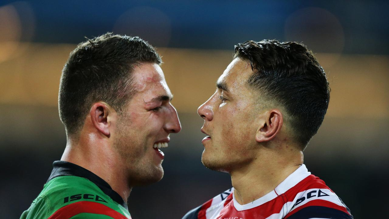 Sam Burgess has a history of targeting his star opposite. Picture: Brett Costello