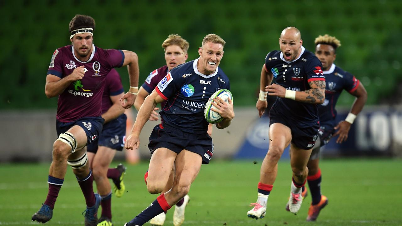 Reece Hodge of the Rebels at AAMI Park in Melbourne.